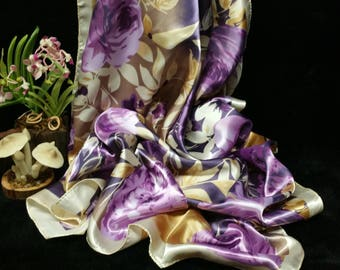 Mother's Day Scarf, Gift For Her, Woman Scarf, Purple Ivory Floral Printed Satin Square Scarf, Large Size Scarf, Bandanna Head Wrap Under 15