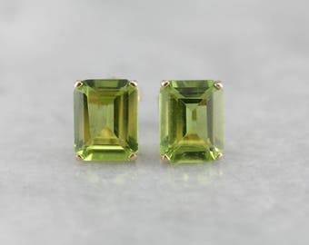 Peridot Emerald Cut Gold Stud Earrings, August Birthstone 9CRC32-N