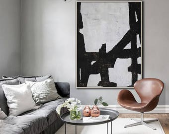 Original Painting Black White Canvas Art, Large Abstract Art, Vertical Wall Art Contemporary Painting - Ethan Hill Art No.H97V