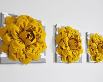 Modern Wall Art/Honey Mustard Yellow/Gray White Moroccan Print /Handmade Dahlias Flower/Canvas Wall Art Set of Three/Home Decor/Wall Hanging