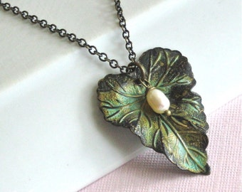 Leaf Necklace - Verdigris Patina, Pearl, Leaf Jewelry