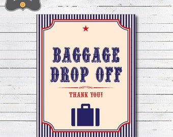 Train Party Baggage Drop Off Sign, Train Gift Table Sign, DIY Printable PDF Sign
