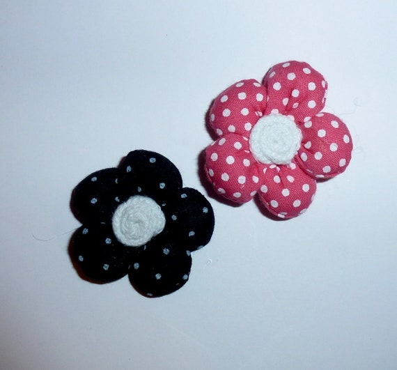 Puppy Dog Bows ~ Polka dot puffy SET OF 2 pink black flowers pet hair bow barrettes or bands (fb103)
