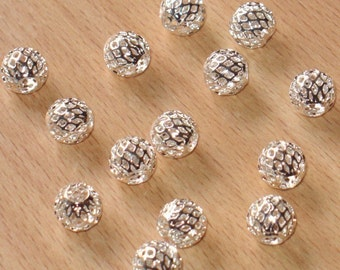 20 pcs of silver-plated brass- round  filigree beads 10mm