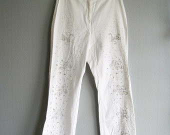 80s Disco Pants High Waisted , Ribkoff size 8 US\ 10 UK\ 38 EU , Pants With Embroidery , White Evening Pants, Pants Beads Embroidered