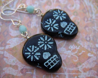 Sugar Skull Earrings - Black and Light Blue