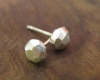 Faceted Stud Earrings - Faceted Earrings - Sterling Silver Facted Stud Earrings