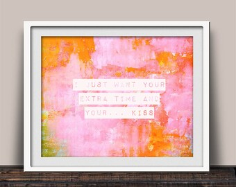 I Just Want Your Kiss, Prince Song, Pink Wall Art, Art Gallery Print, 1980 Era, Home Decor, Abstract Art, Pink Watercolors, Giclee Print