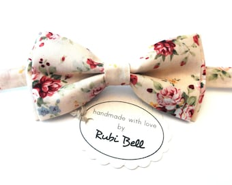 Bow Tie - floral bow tie - wedding bow tie - creamy bow tie with pink flower pattern - man bow tie - men bow tie - gifts for him