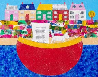 Beach art, beach giclee print, beach painting, seaside, harbour art, animal art, dog art, bird art, red boat, whimsical art, collage art.