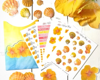Sunrise Shell Planner Stickers Kit with Pocket