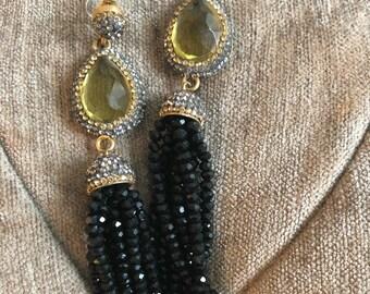 Black onyx chandellier earrings