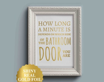 FUNNY BATHROOM PRINT, Funny Bathroom Art, Toilet Pun, Toilet Decor, Restroom Signs, Funny Bathroom Signs, Gold Foil Print, Gold Foil Art