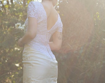 1980's slim skirt wedding dress with slit and beading