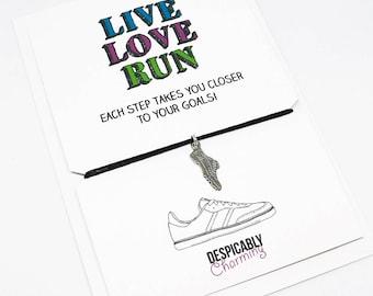 Running Gifts, Gifts for runners, Running bracelet, personalised running bracelet, Live Love Run, Marathon Gift, Half Marathon, 5k, 10k gift