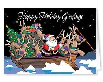 Land Ho Ho Ho Boating Theme Holiday Card - 18 Christmas Cards & Envelopes - KX359
