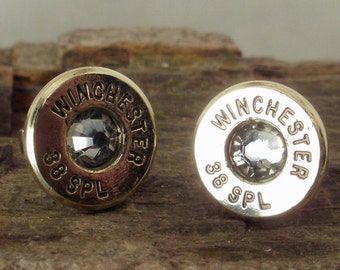 Crystal - Bullet  Earrings  - 38 SPL Stud Earrings - Winchester - Ultra Thin