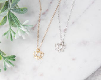 Sterling Silver Lotus Flower Necklace - Yoga Necklace - Dainty Sterling Silver Necklace - Tiny Lotus Necklace - Sterling Silver