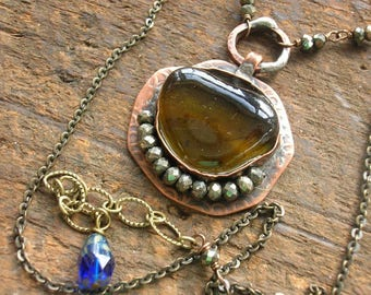 Sea glass jewelry - The Alchemist - artisan soldered copper jewelry, boho jewelry, beach glass necklace, mermaid jewelry, copper necklace