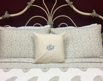 Embroidered Monogram Pillow