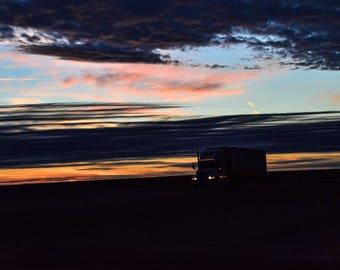 Kansas I-70 Sunset Trucker headed eastbound