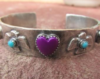 Sterling Silver Artisan Thunderbird Hippie Heart Cowgirl Cuff Bracelet, Block Sugilite, Turquoise and Serpentine