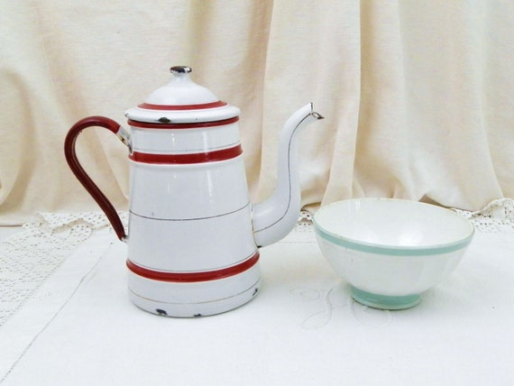 Antique Belgian St Servais White and Red Enamel Goose Neck Spout Coffee Pot, Enamelware Pour Over Cafetiere from France, French Country