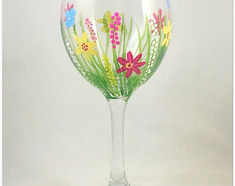 Wild flower painted wine glass