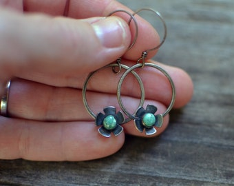 forget-me-not hoop earrings - turquoise flowers and sterling silver