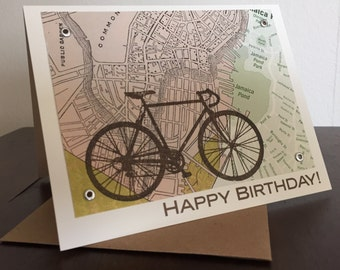 Boston Map and Bike Birthday Card - Screen-Printed Greeting Card