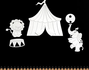 scrapbooking scrap big top tent circus lion elephant balloon baby birth cut paper embellishment decoration flag cut-outs set