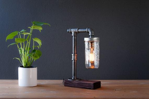Mason Jar lamp/Industrial lamp/Rustic decor/Table lamp/Radio Cooper lamp light/housewarming gift/gift for men/bedside lamp/desk accessories
