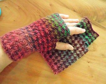 Fingerless mittens nr.3, lovely 100% premium wool, oh so colorfull