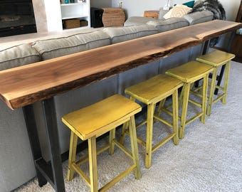 Sofa Table Home Bar Top Table Live Edge Bar Table Black Walnut Natural Edge  Slab Rustic
