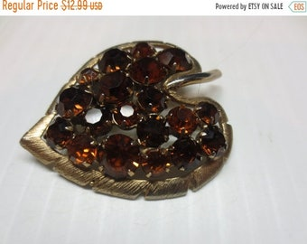 Whole Shop on Sale Heart Shaped Leaf Brooch With Amber Rhinestones