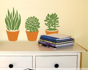 Succulent Plants Wall Decals: Plant Lover Gift of 3 Easy Care (No Care lol) Succulents in faux Clay Pots