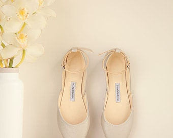 The Wedding Ballet Flats Shoes for brides Lace up shoes | Pointe Style Shoes | Mary Janes in Champagne | Ready to Ship