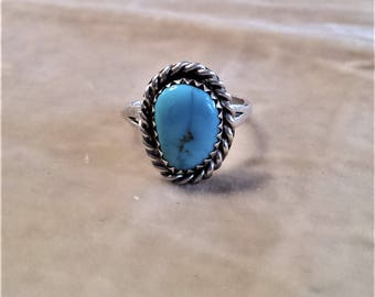 Sterling Silver Turquoise Ring with a Twist