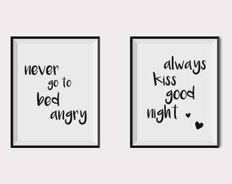 Always kiss me goodnight poster, Never go to bed angry print, above bed wall art, couple print set, Love poster, bedroom wall quotes, set 2