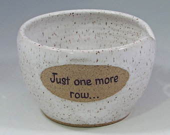 Just one more row... Yarn bowl in white