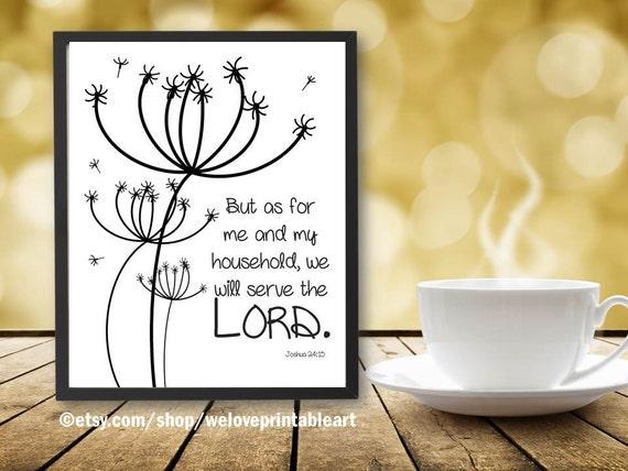 Joshua 24:15 Dandelion Artwork Bible Verse Print Printable