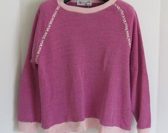 Handmade, Hand Sewn, Sweatshirt,  Womens Sweatshirts, Pink, Fleece Sweatshirt, Pullover Sweatshirt, Pink Sweatshirt, Gift for Her, Birthday