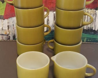 Anchor Hocking by Fire King Ware Dark green mugs with creamer and sugar bowl set of 10