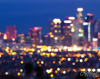"Los Angeles Print | ""City of Light"" | Los Angeles Skyline Photo - Artistic Los Angeles Print - City Skyline Bokeh - LA Skyline Wall Art"