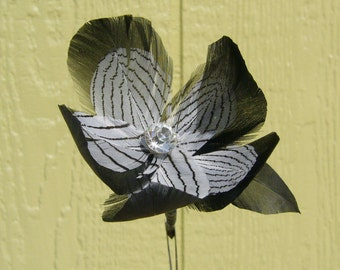 Handmade Edward Gorey Inspired Magnolia Feather Flower - Black w/ White Patterned Accent Feathers - Clear Facted Center Rhinestone - On Stem