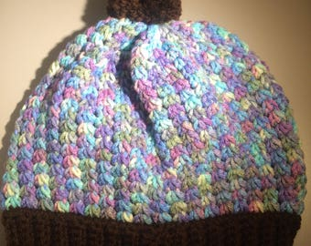 Crochet girls/womans multi colored and dark brown beanie/slouchy hat