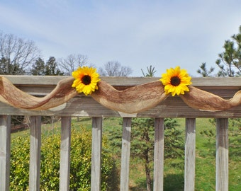 Sunflower Wedding Decor, Burlap Garland,  Bridal Shower Decor