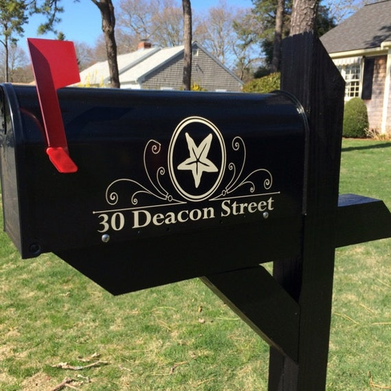 Custom starfish mailbox street number decal set mailbox for Fish mailboxes for sale