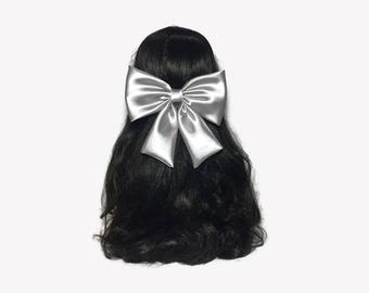 Grey Hair Bow, Satin Hair Bow, Grey Bow For Girls, Big Hair Bows, Grey Bow, Satin Bows, Big Bows, Wedding Bows, Bows For Women, Adult Bows