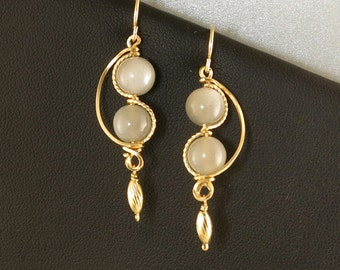 Gray Moonstone Gold Dangle Earrings, Asymmetrical Gold Wire Wrapped Gray Stone Earrings, Artisan Earring Gift For Her, Moonstone Jewelry